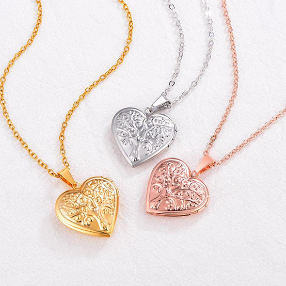 Engraving Classic Family Tree Of Life Heart Locket Necklace For Women