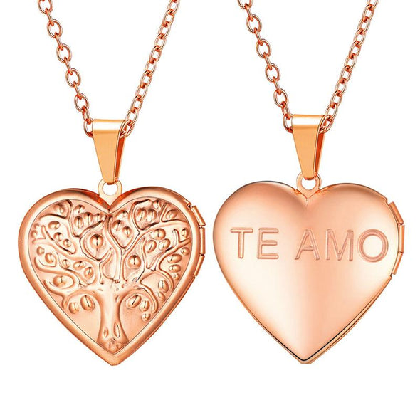 Personalized Engraving Family Tree Of Life Heart Custom Photo Locket Necklace Rose Gold Plated