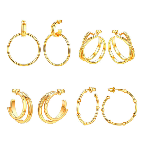 18K Gold Plated Circle/Double C/Infinity/Bobbled C Hoop Earrings S925 Needle