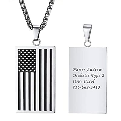 Free Engraving Square/Heart American Flag Necklace USA Symbol Pendant