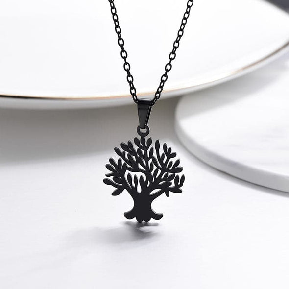 Floral Family Tree Of Life And Tree Of Soul Pendant Necklace For Women Black