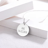 Custom Photo Engraving Round Plate Pendant Necklace For Women