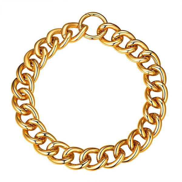 Gold Plated Stainless Steel 23mm Chunky Cuban Chain Choker For Women