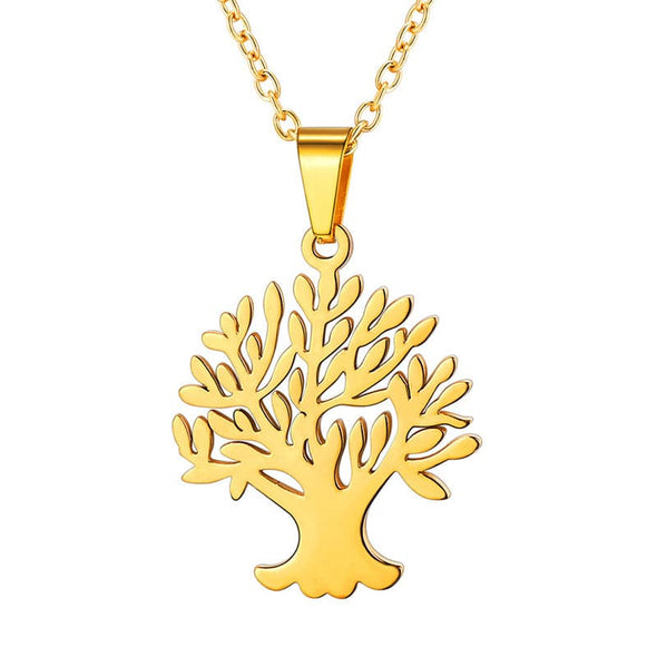 Floral Family Tree Of Life And Tree Of Soul Pendant Necklace For Women 18K Gold Plated
