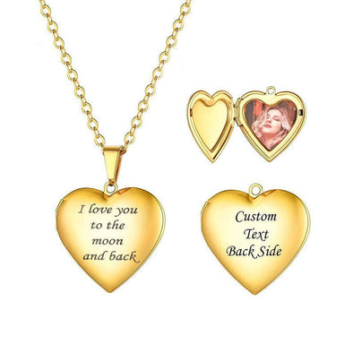 Love You To The Moon And Back Custom Engraving Heart Shape Photo Locket Necklace For Men And Women