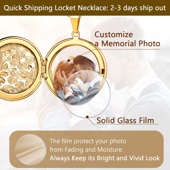 Classic Flower Carved Photo Locket Necklace Memorable Gifts For Women