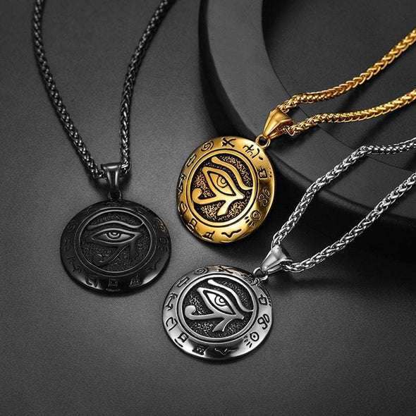 Engravable Egyptian Eye Of Horus Round Metal Pendant Necklace For Men