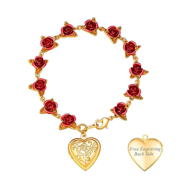 Boutique Dozen Red Rose Bracelet With Heart Locket for Women