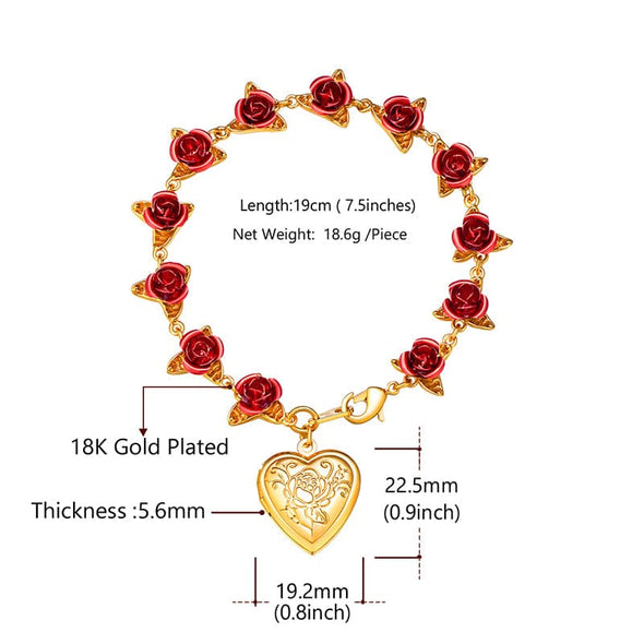 Boutique Red Rose Charm Bracelet With Engravable Heart Photo Locket