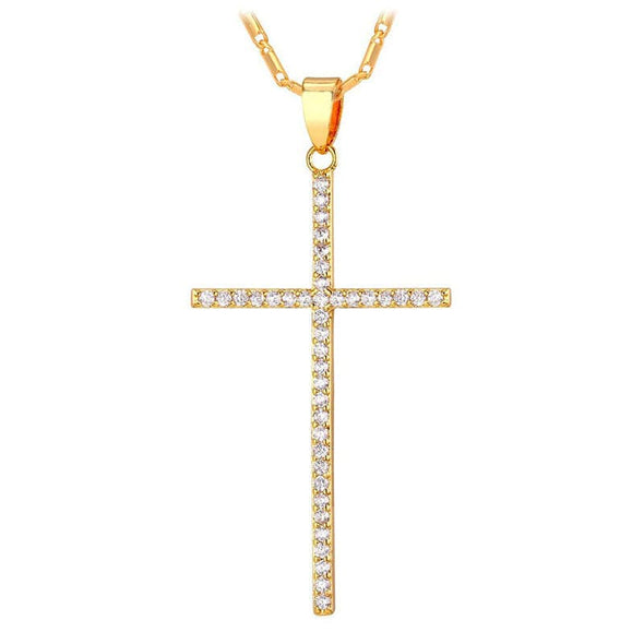 Slender Latin Cross Chain Necklace With CZ Diamond Stones for Women