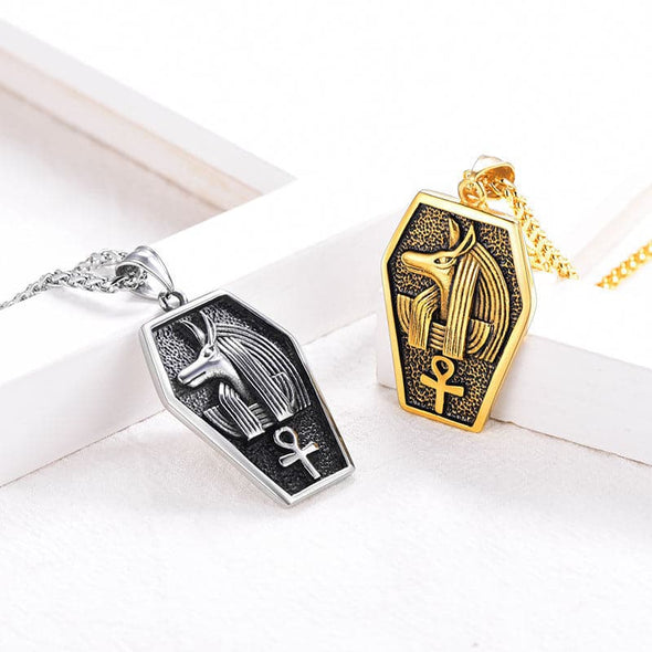 Personalized Vintage Egyptian God Anubis Ankh Cross Pendant Necklace