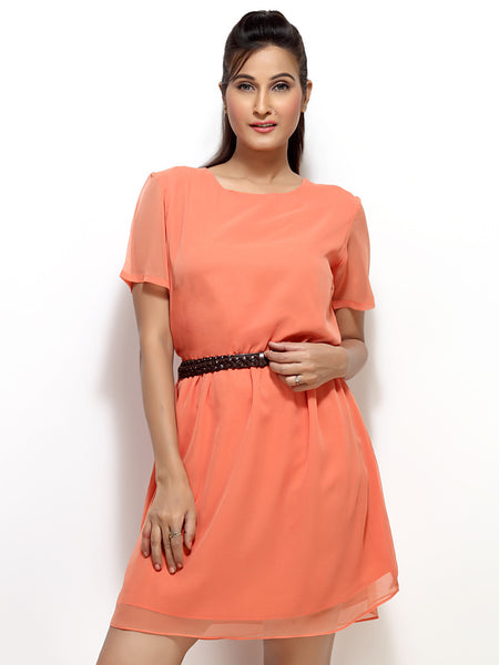 Loco En Cabeza Peach Short Sleeve Short Dress with belt   CZWD0001