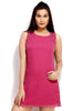 Loco En Cabeza Pink Georgette Sleeveless short dress    CZWD0004