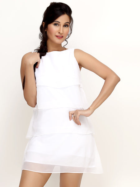 Loco En Cabeza White Chiffon Layered Sleeveless Short  Dress   CZWD0013