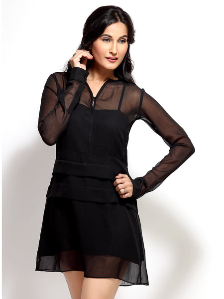 Loco En Cabeza Black Long Sleeve Panelled Short Dress   CZWD0015
