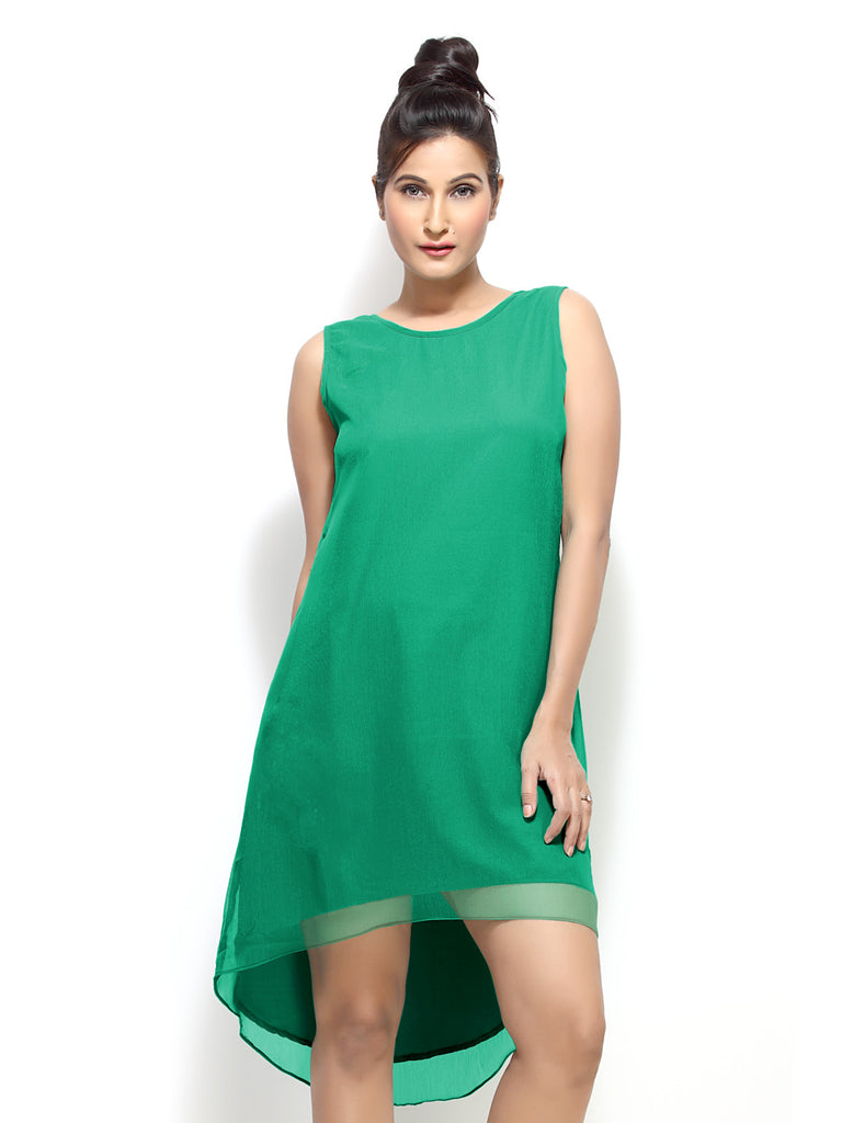 Loco En Cabeza Green Sleeveless Short Dress   CZWD0018