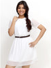 Loco En Cabeza White Short Sleeve short Dress   CZWD0020