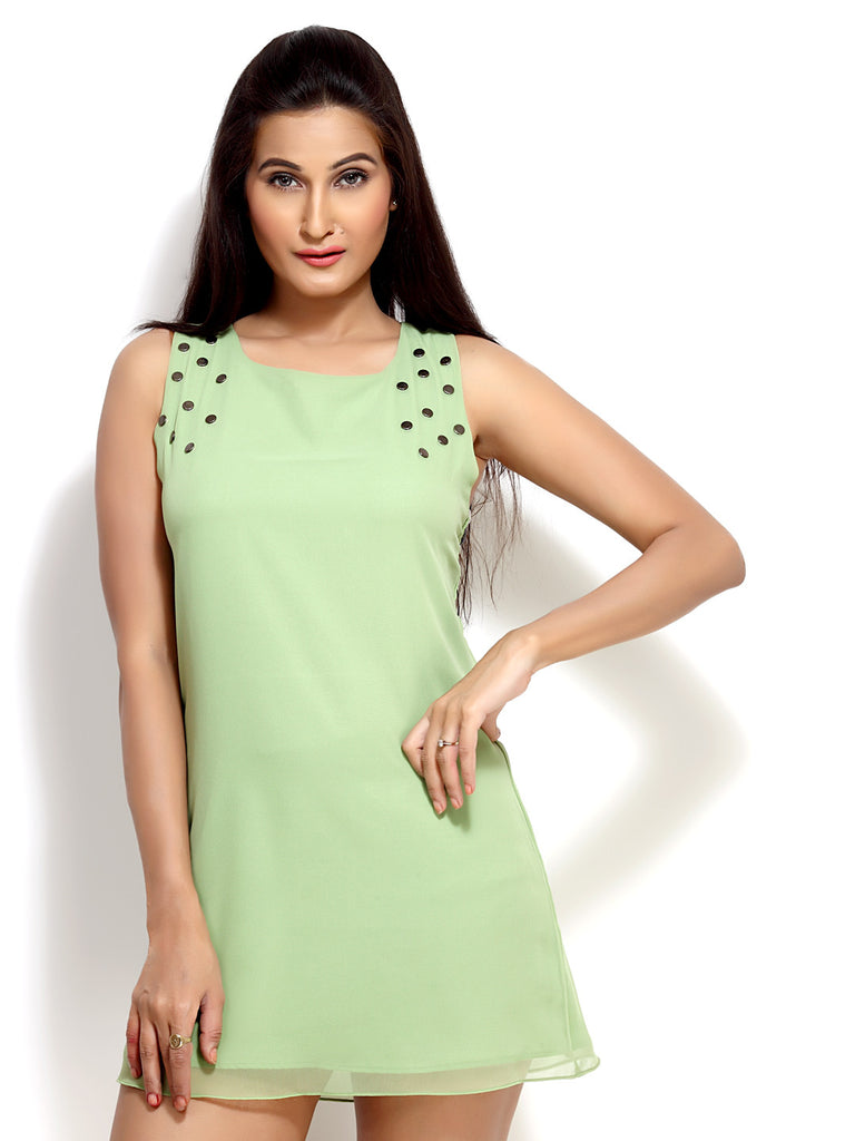 Loco En Cabeza Green  Georgette Sleeveless short dress    CZWD0021