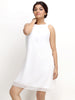 Loco En Cabeza White Georgette Sleeveless Dress   CZWD0023