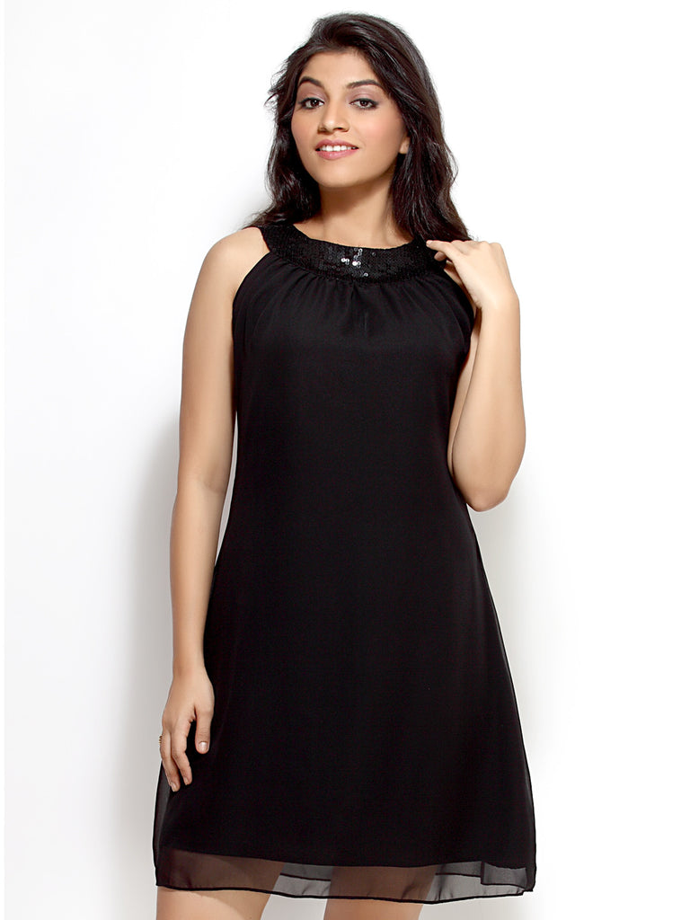 Loco En Cabeza Black Georgette Sleeveless Dress   CZWD0024