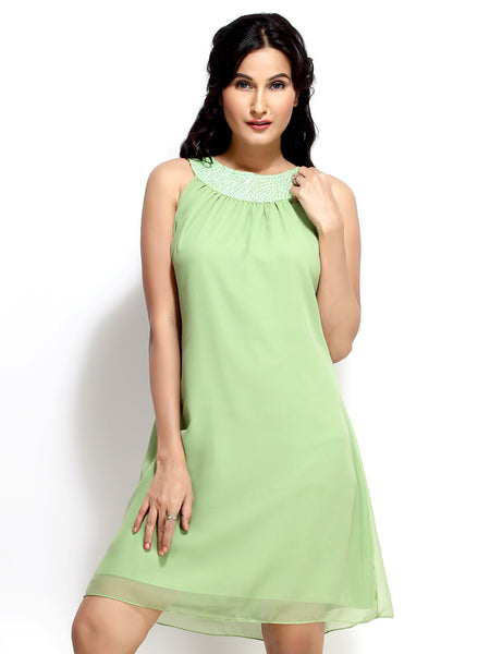 Loco En Cabeza Green  Georgette Sleeveless Dress   CZWD0025