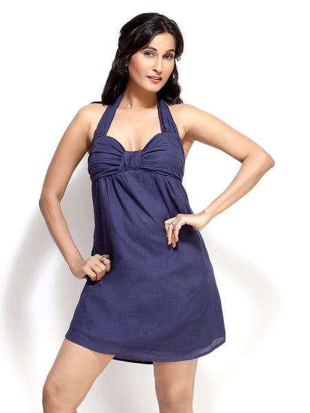 Loco En Cabeza Navy Cotton Tie neck short Dress   CZWD0029