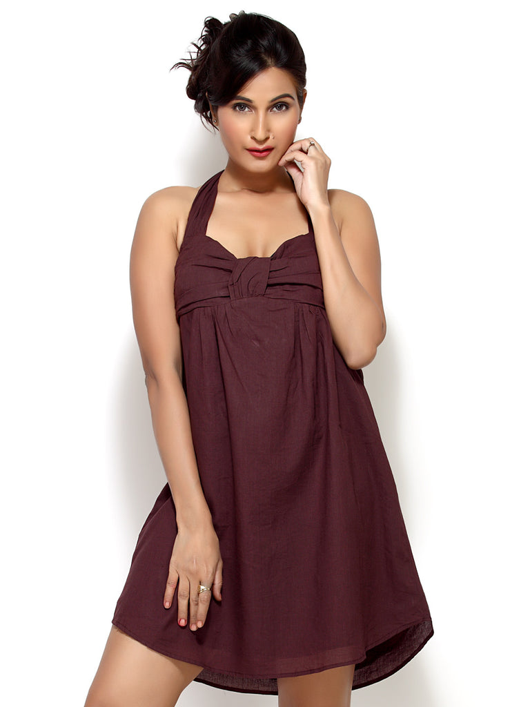 Loco En Cabeza Brown Cotton Tie neck short Dress   CZWD0030