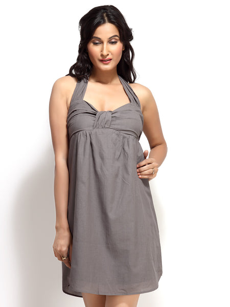 Loco En Cabeza Grey Cotton Tie neck short Dress   CZWD0031