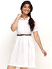 Loco En Cabeza White Short Sleeve Cotton Short Dress   CZWD0032