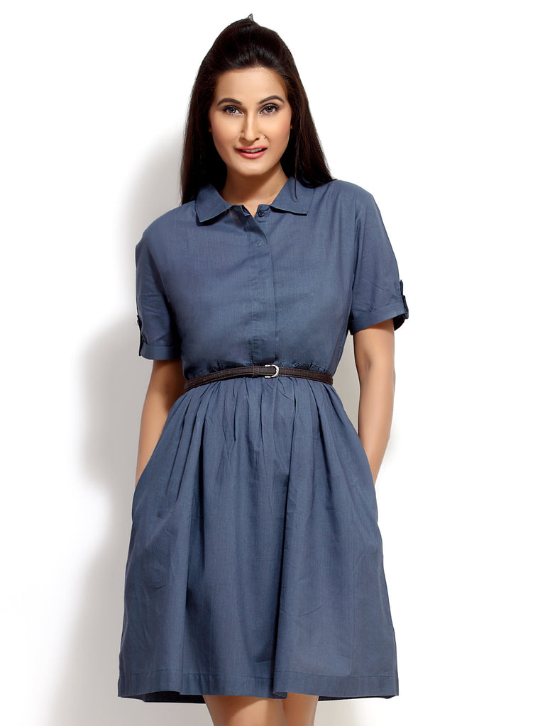 Loco En Cabeza Blue Short Sleeve Cotton Short Dress   CZWD0033