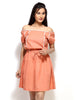 Loco En Cabeza Peach Short Sleeve Short Dress   CZWD0035