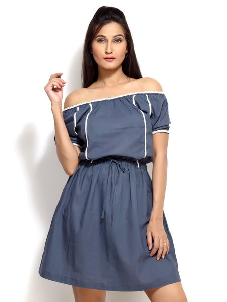 Loca En Cabeza Blue Short Sleeve Short Dress   CZWD0037