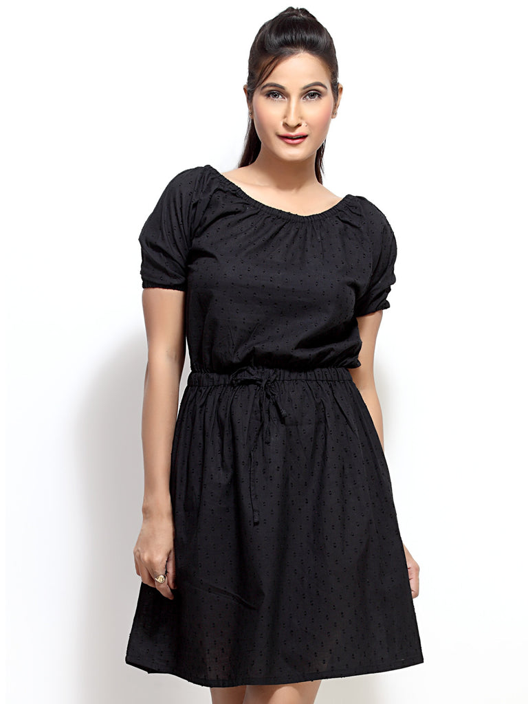 Loco En Cabeza Black Short Sleeve Short Dress   CZWD0039