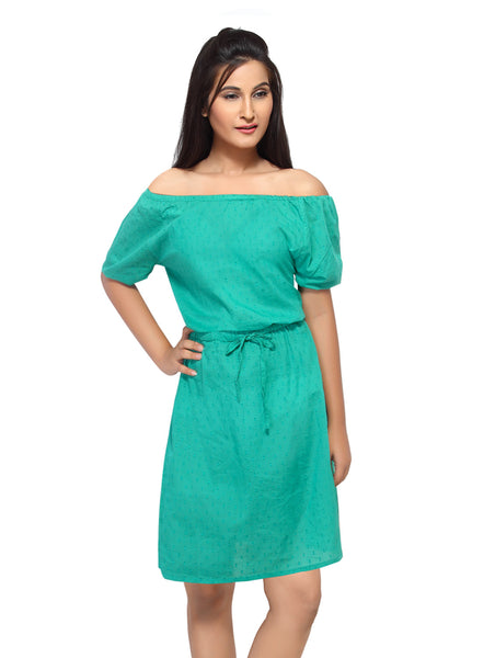 Loco En Cabeza Green Short Sleeve Short Dress   CZWD0040