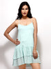 Loco En Cabeza Green Sleeveless Tiered Short Dress   CZWD0045