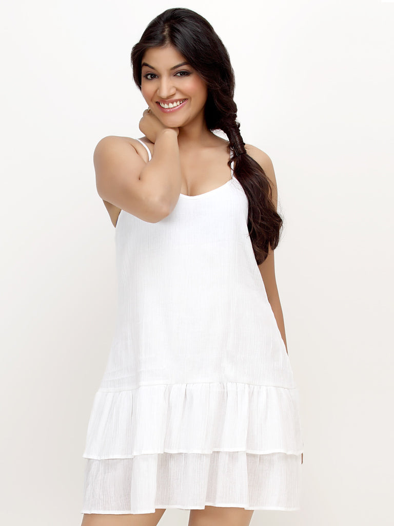Loco En Cabeza White Sleeveless Tiered Short Dress   CZWD0047