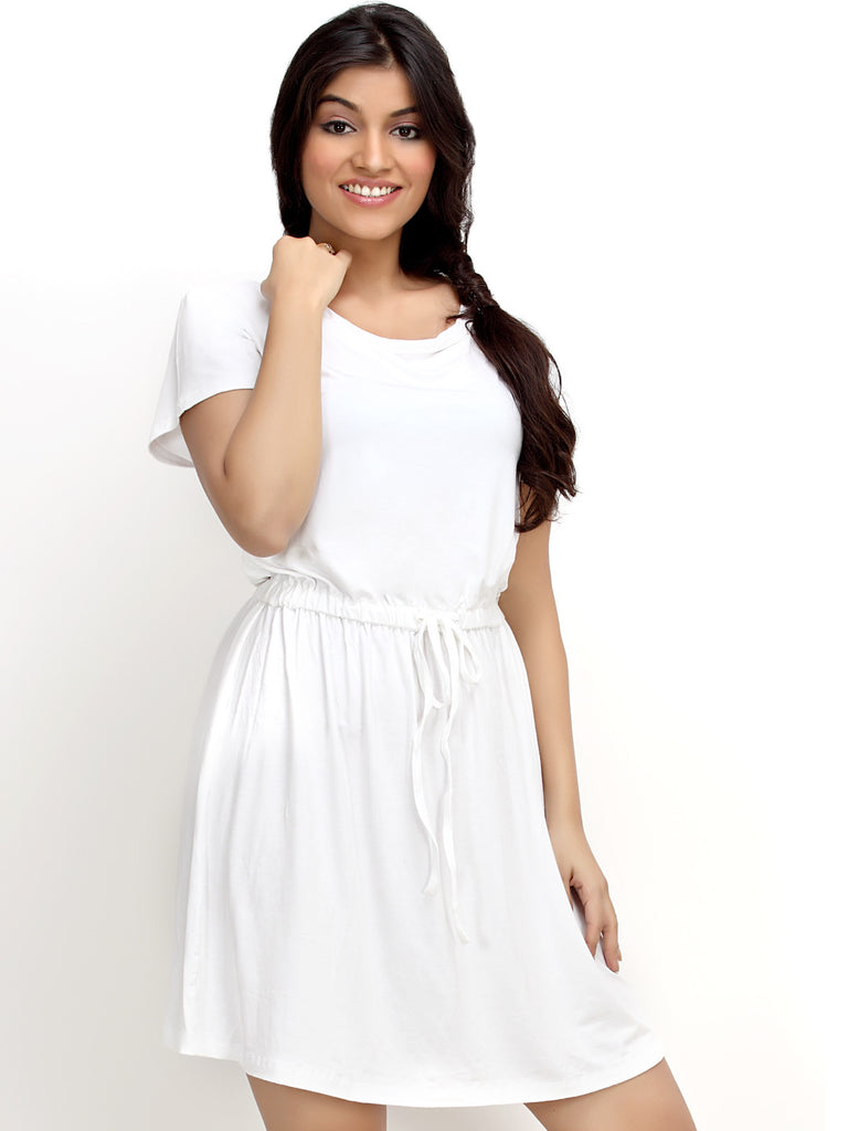 Loco En Cabeza White Short Sleeve Strech Viscose Short Dress   CZWD0049