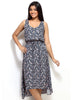 Loco En Cabeza Pink Printed RayonSleeveless  3/4 Long Dress   CZWD0057