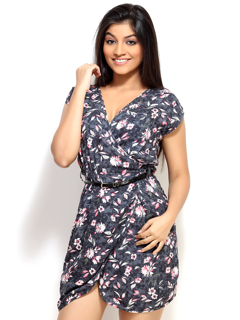 Loco En Cabeza Grey Printed Rayon Overlap Wrap Short Dress   CZWD0058