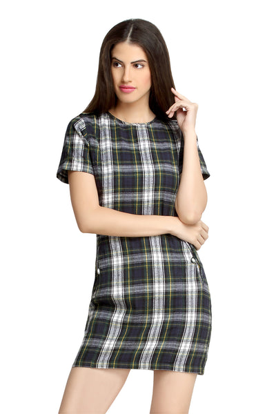 Loco En Cabeza Checks Plaid Cotton Dress Green/ White   CZWD0063