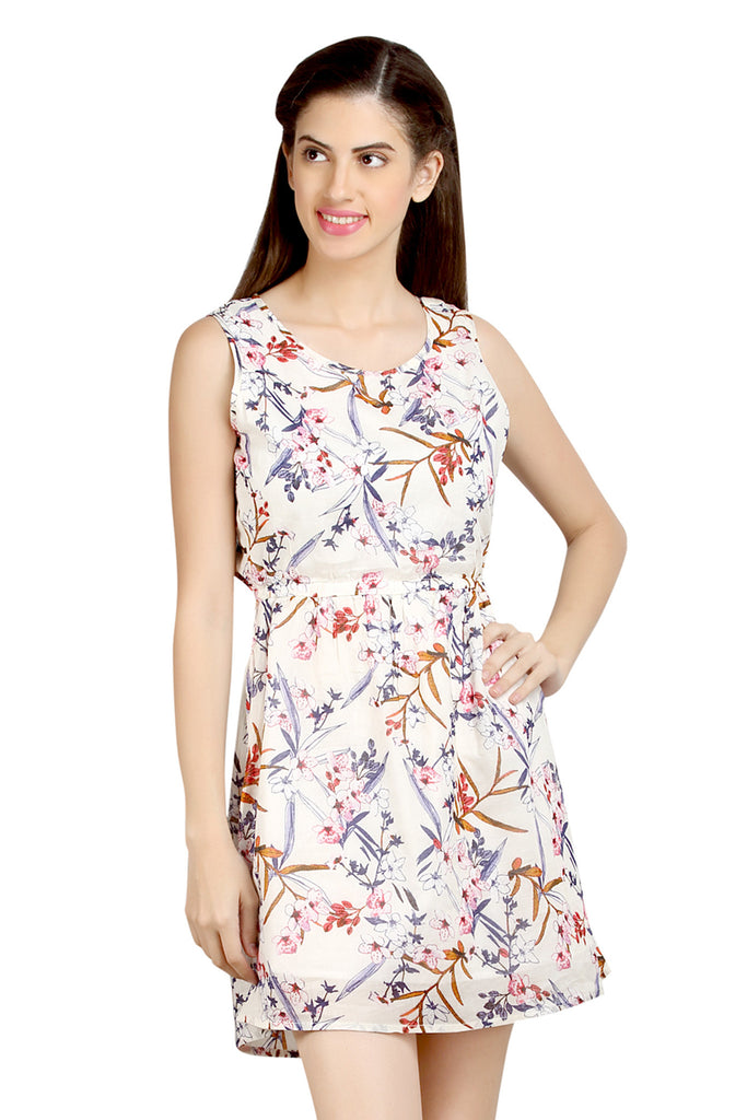 Loco En Cabeza Floral Printed Sleeveless Short Dress   CZWD0067