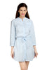 Loco En Cabeza Sky Blue Linen Cotton 3/4 Sleeve Short Dress   CZWD0072