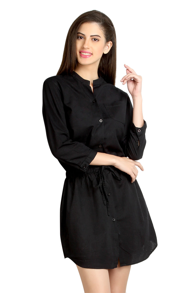 Loco En Cabeza Black Linen Cotton 3/4 Sleeve Short Dress   CZWD0074