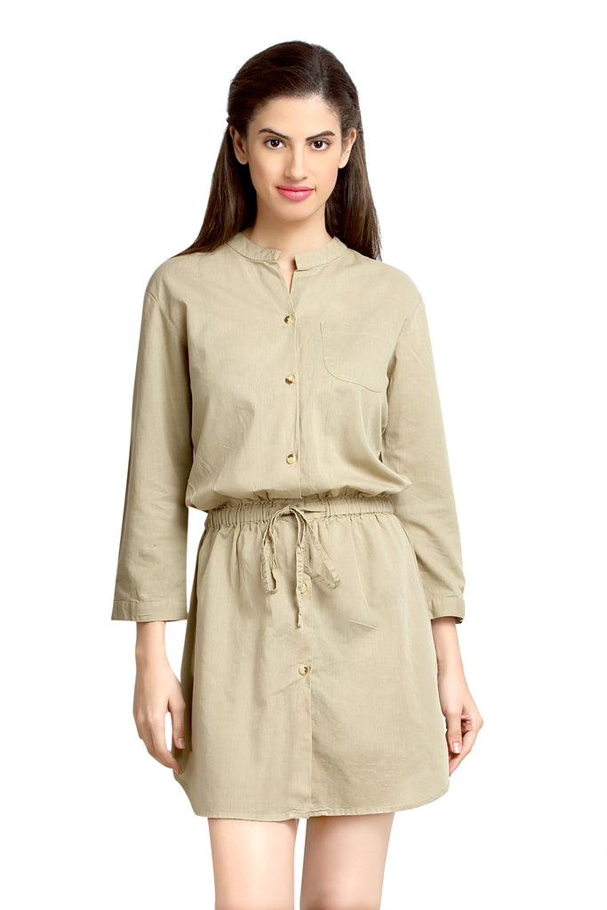 Loco En Cabeza Sand Linen Cotton 3/4 Sleeve Short Dress   CZWD0075