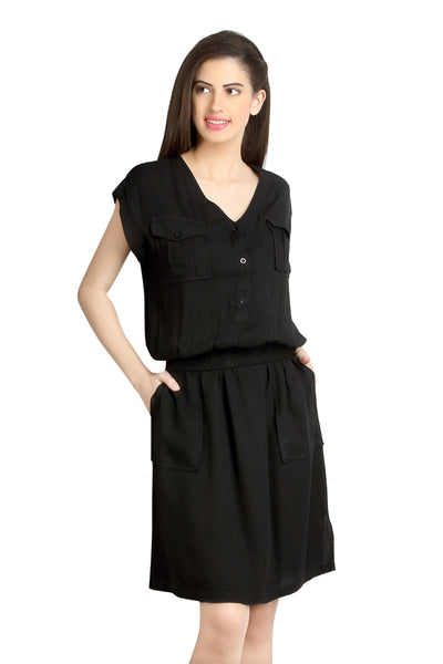 Loco En Cabeza Black Viscose Rayon Dress   CZWD0080