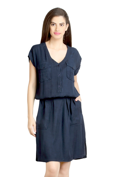 Loco En Cabeza Navy Viscose Rayon Dress   CZWD0082