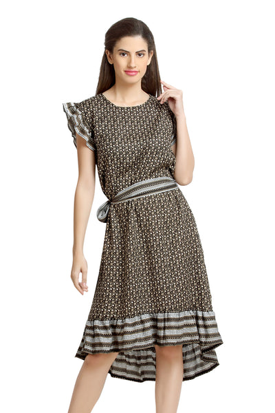 Loco En Cabeza Printed Rayon Short Sleeve Knee Length Dress   CZWD0083