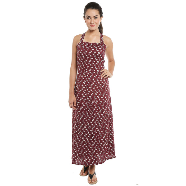 Loco En Cabeza Printed Rayon Long Dress   CZWD0095
