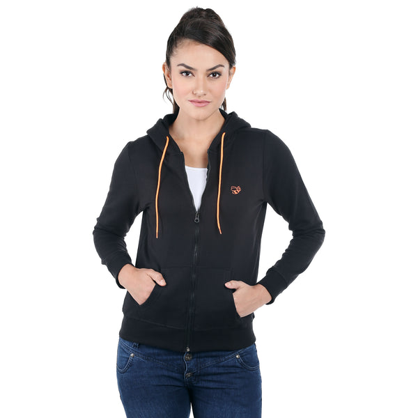 Loco En Cabeza Black Cotton Fleece Long Sleeve Hoodie CZWH0007