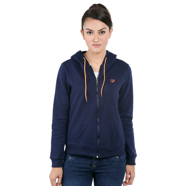 Loco En Cabeza Navy Cotton Fleece Long Sleeve Hoodie CZWH0008
